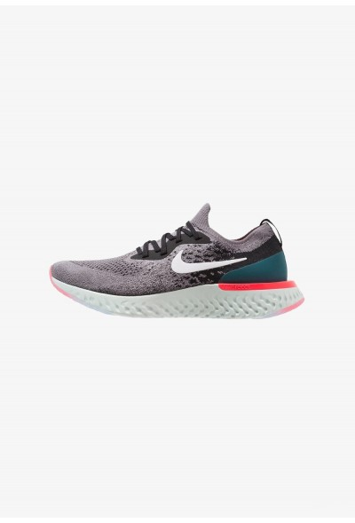Nike EPIC REACT FLYKNIT - Chaussures de running neutres gunsmoke/white/black/geode teal/hot punch liquidation