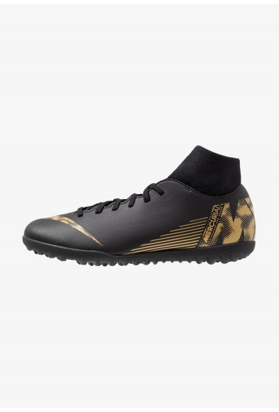 Nike SUPERFLYX 6 CLUB TF - Chaussures de foot multicrampons black/metallic vivid gold liquidation