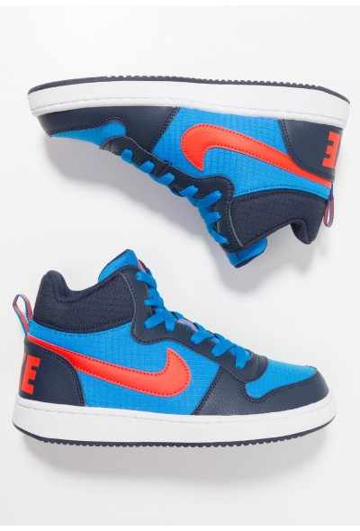 Nike COURT BOROUGH MID - Baskets montantes obsidian/bright crimson/photo blue/white liquidation