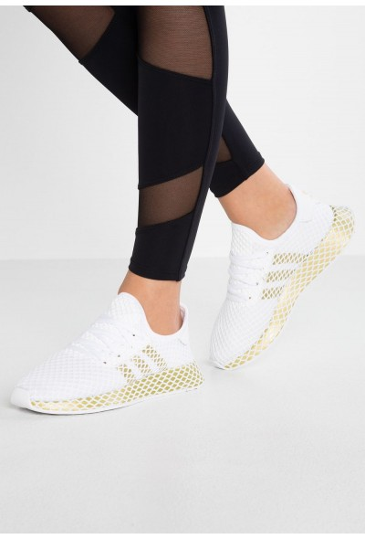 Adidas DEERUPT RUNNER - Baskets basses footwear white/gold metallic pas cher