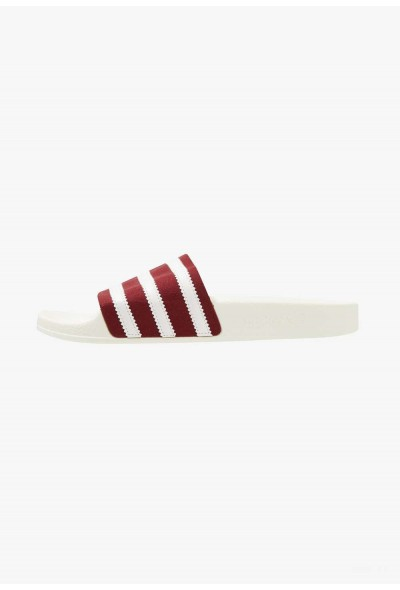 Adidas ADILETTE - Mules burgundy/offwhite pas cher