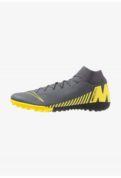 Nike MERCURIAL SUPERFLYX 6 ACADEMY TF - Chaussures de foot multicrampons dark grey/black/opti yellow liquidation