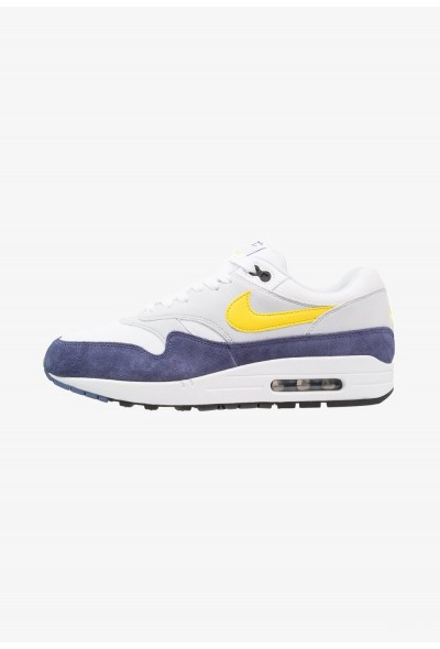 Black Friday 2020 | Nike AIR MAX 1 - Baskets basses white/tour yellow/blue recall liquidation