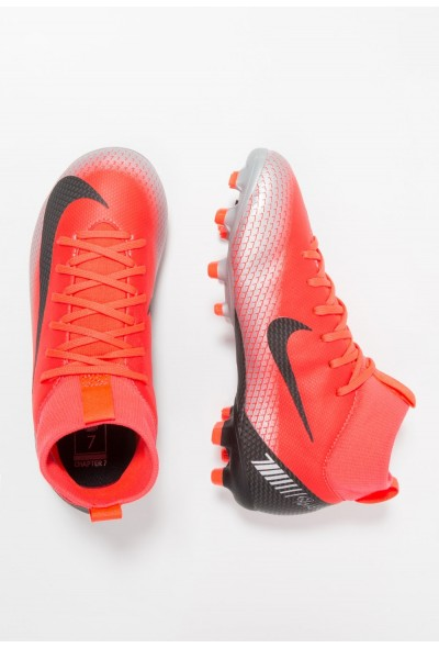 Nike MERCURIAL 6 ACADEMY GS FG/MG - Chaussures de foot à crampons bright crimson/black/chrome/dark grey liquidation