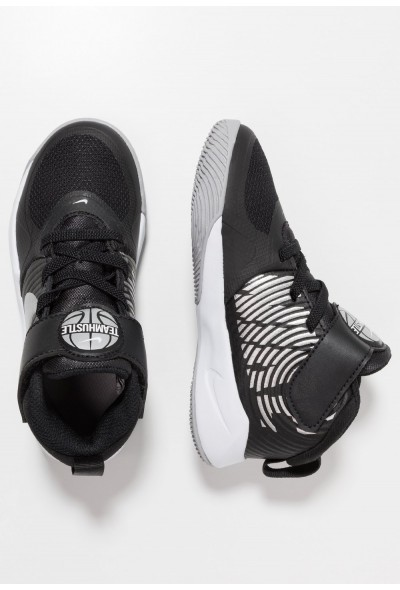Nike TEAM HUSTLE 9  - Chaussures de basket black/metallic silver/wolf grey/white liquidation