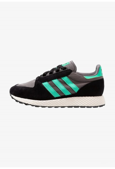 Adidas FOREST GROVE - Baskets basses - core black/hi core black/hi-res green/grey four pas cher