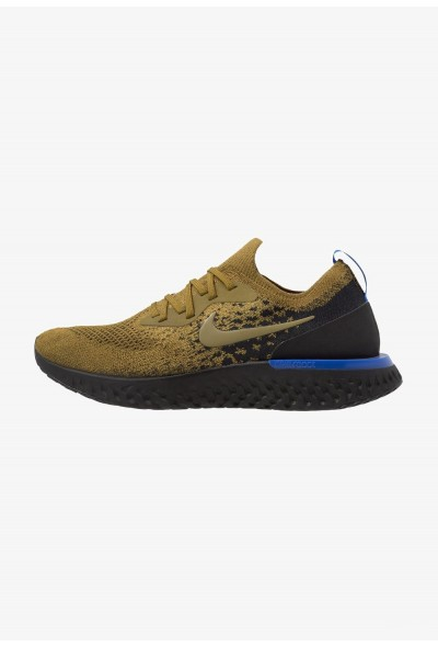 Nike EPIC REACT FLYKNIT - Chaussures de running neutres olive flak/black/hyper royal/hyper crimson liquidation