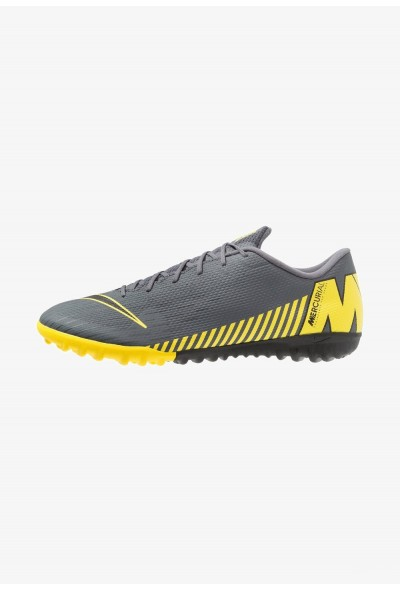 Nike MERCURIAL VAPORX 12 ACADEMY TF - Chaussures de foot multicrampons dark grey/black/opti yellow liquidation