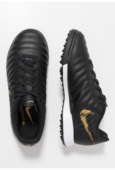 Nike TIEMPO LEGENDX 7 ACADEMY TF - Chaussures de foot multicrampons black/metallic vivid gold liquidation