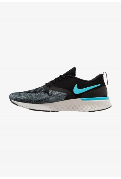 Nike ODYSSEY REACT 2 FLYKNIT - Chaussures de running neutres black/blue fury/aviator grey/platinum tint/yellow liquidation