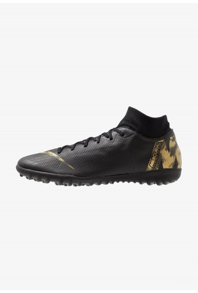 Nike MERCURIAL SUPERFLYX 6 ACADEMY TF - Chaussures de foot multicrampons black/metallic vivid gold liquidation