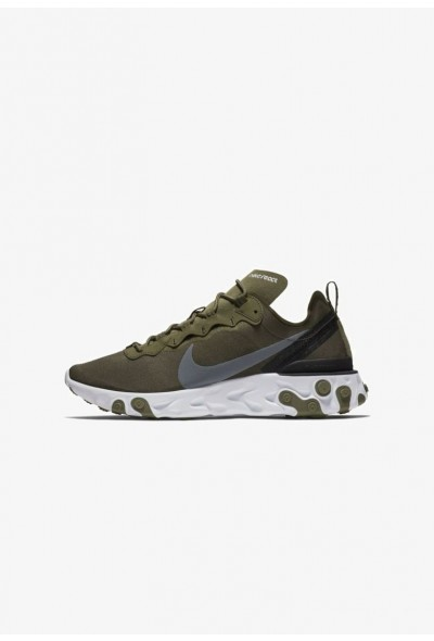 Nike REACT 55 - Baskets basses medium olive/black/white/cool grey liquidation