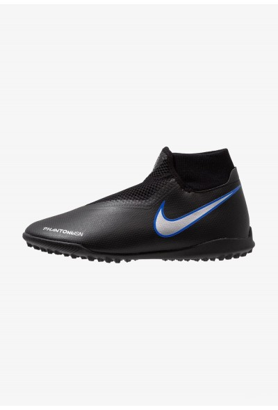 Nike PHANTOM OBRAX 3 ACADEMY DF TF - Chaussures de foot multicrampons black/metallic silver/racer blue liquidation