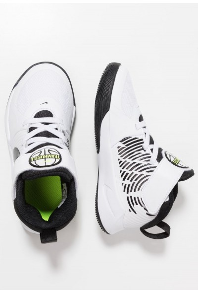 Nike TEAM HUSTLE 9  - Chaussures de basket white/black/volt liquidation