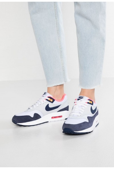 Nike AIR MAX 1 - Baskets basses white/midnight navy/pure platinum/racer pink/laser orange liquidation