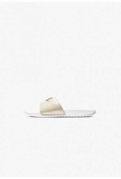 Black Friday 2020 | Nike NIKE BENASSI JDI PRINT - Mules white/beach/metallic gold liquidation