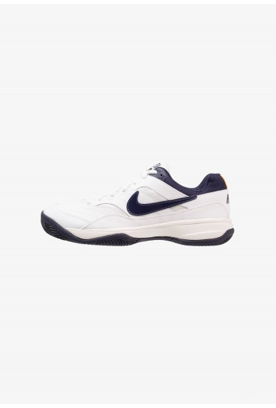 Nike COURT LITE CLAY - Chaussures de tennis sur terre battue white/blackened blue/phantom/orange peel liquidation
