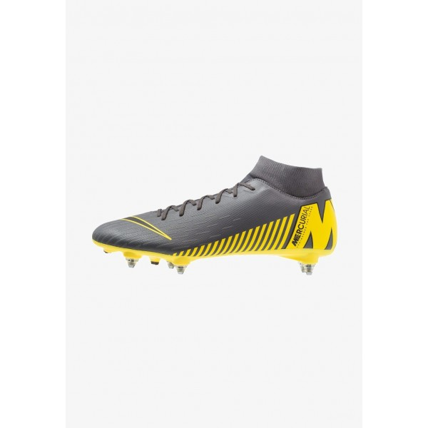 Nike MERCURIAL 6 ACADEMY SGPRO - Chaussures de foot à lamelles dark grey/black/opti yellow liquidation