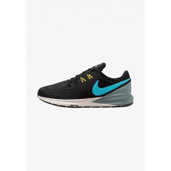 Nike AIR ZOOM STRUCTURE  - Chaussures de running stables black/blue fury/aviator grey/bright citron/light orewood brown liquidation