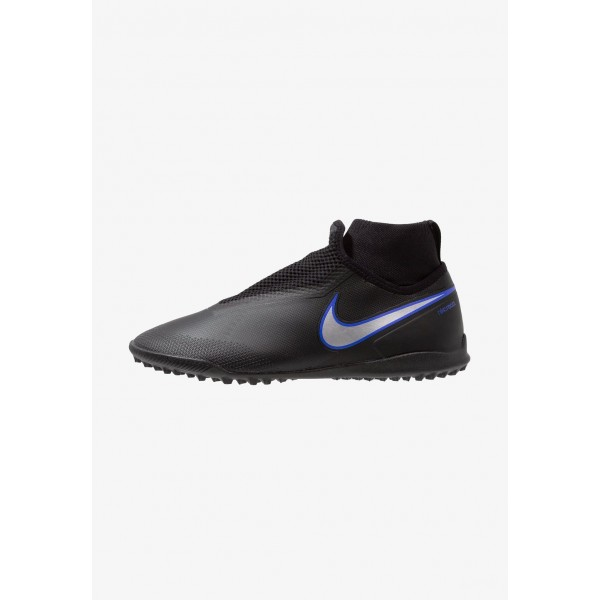 Nike PHANTOM REACT OBRA PRO TF - Chaussures de foot multicrampons black/metallic silver/racer blue liquidation