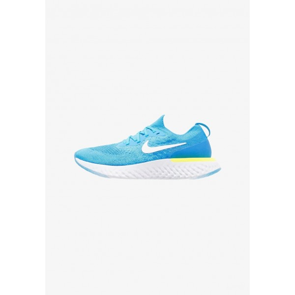 Nike EPIC REACT FLYKNIT - Chaussures de running neutres blue glow/white/photo blue/volt glow liquidation