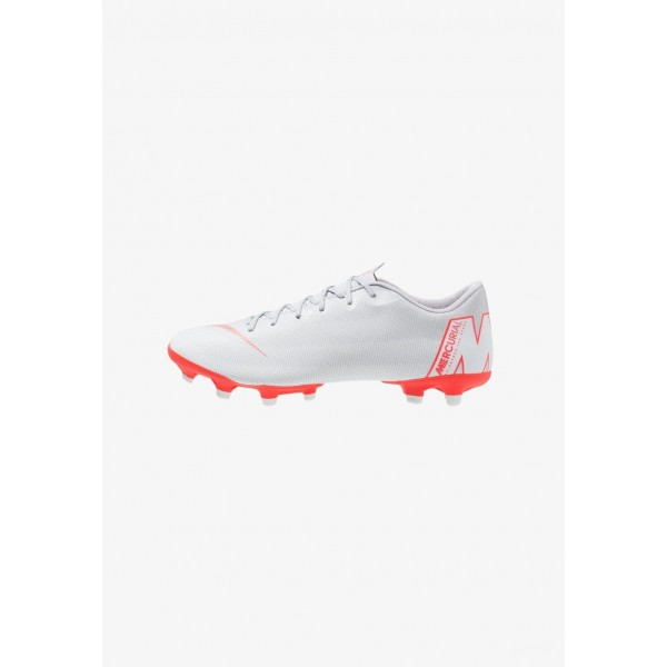 Nike MERCURIAL VAPOR 12 ACADEMY MG - Chaussures de foot à crampons wolf grey/bright crimson/pure platinum/metallic silver liquidation