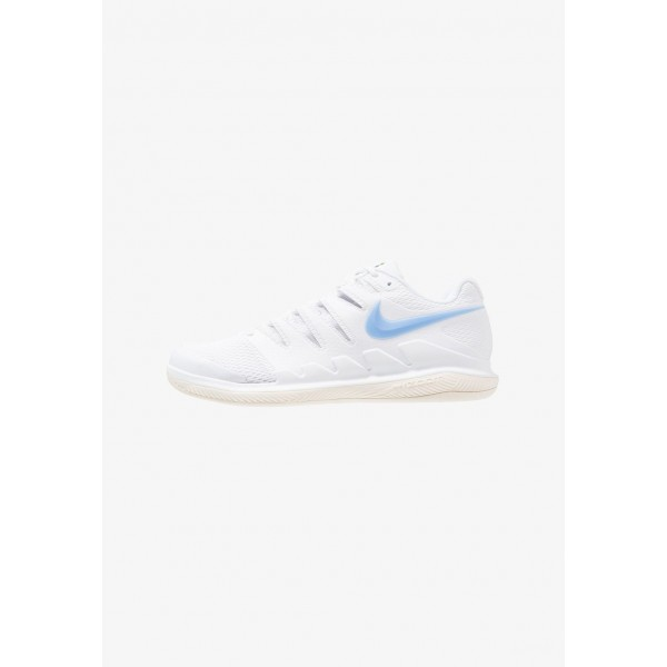 Nike AIR ZOOM VAPOR X CPT - Chaussures de tennis en salle white/university blue/light cream/metallic gold liquidation