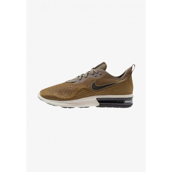Nike AIR MAX SEQUENT 4 - Chaussures de running neutres med olive/black/olive flak/team orange/light bone liquidation