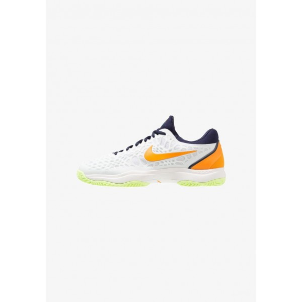 Nike AIR ZOOM CAGE 3 HC - Chaussures de tennis sur terre battue white/orange peel/blackened blue/phantom/volt glow liquidation