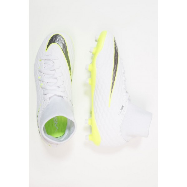 Nike PHANTOM 3 ACADEMY DF FG - Chaussures de foot à crampons white/chrome/volt liquidation