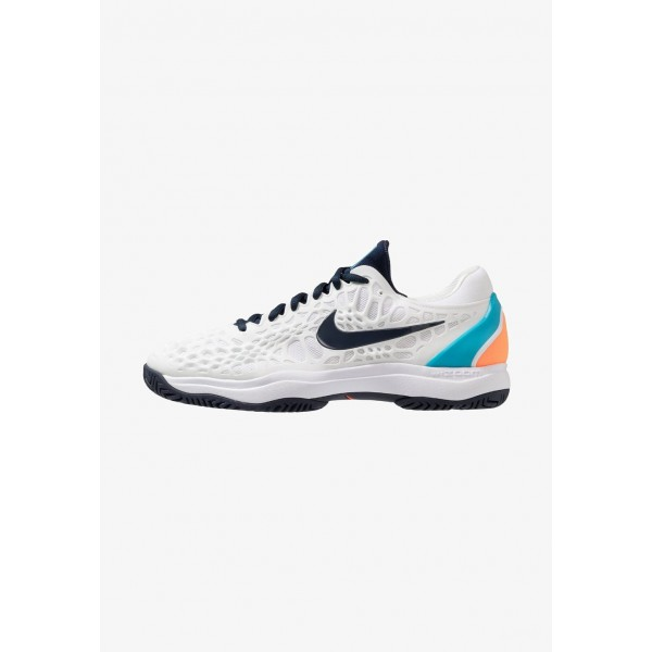 Nike AIR ZOOM CAGE 3 HC - Chaussures de tennis sur terre battue white/obsidian/light carbon/light blue fury liquidation